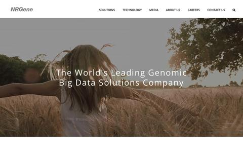 Screenshot of Home Page nrgene.com - NRGene – the leading genomic big data company - captured Nov. 1, 2017