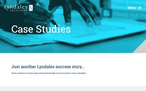 Screenshot of Case Studies Page lyndales.co.uk - Case Studies - Lyndales - captured Nov. 16, 2016