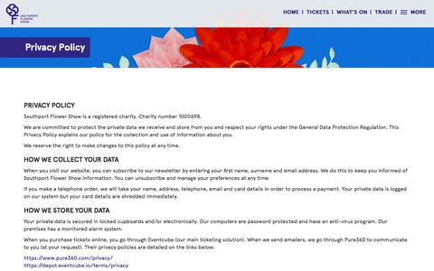 Screenshot of Privacy Page southportflowershow.co.uk - Privacy Policy | Southport Flower Show - captured Sept. 23, 2018