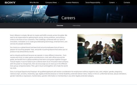 Screenshot of Jobs Page sony.com - Careers - Overview - captured Oct. 29, 2018