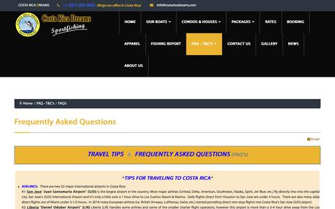 Screenshot of FAQ Page costaricadreams.com - FAQ's - captured July 22, 2018