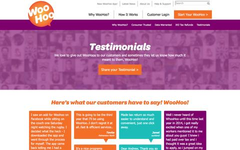 Screenshot of Testimonials Page nztaxrefunds.co.nz - Customer Testimonials | NZ Tax Refunds - captured Feb. 15, 2016