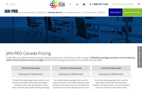 Screenshot of Pricing Page jan-pro.ca - JAN-PRO Canada Pricing - captured Oct. 13, 2018
