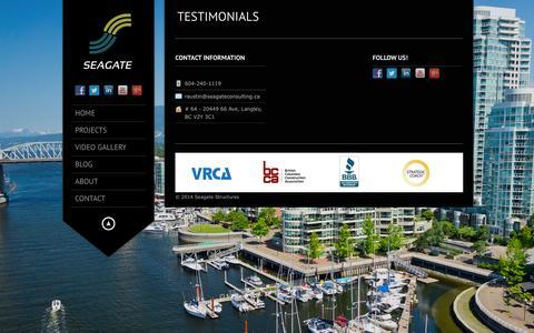 Screenshot of Testimonials Page seagatestructures.ca - Seagate Structures – Construction and Consulting Services |   Testimonials - captured Aug. 2, 2015
