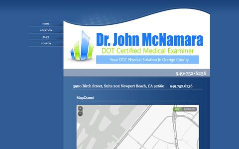 Screenshot of Services Page drjohnmcnamara.com - Services - captured Oct. 21, 2018