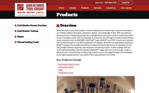 Screenshot of Products Page wrenthamtool.com - Wrentham Tool Group: Global supplier of cold heading, forming tools and gages used to produce fasteners - captured Dec. 10, 2016