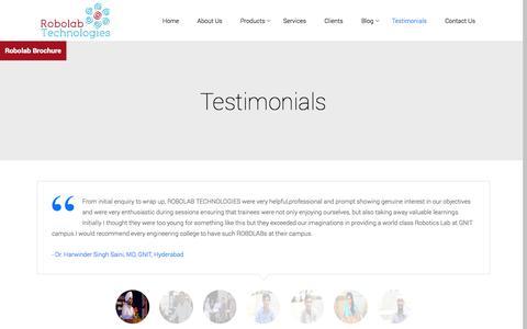 Screenshot of Testimonials Page robolab.in - robolab |   Testimonials - captured Nov. 5, 2014