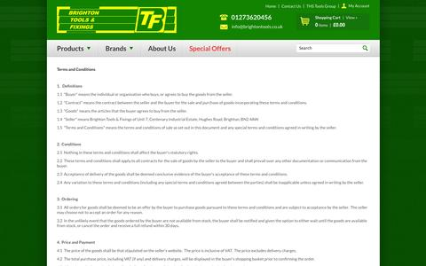 Screenshot of Terms Page brightontools.co.uk - Terms and Conditions :: Brighton Tools and Fixings Ltd. - captured Oct. 5, 2014