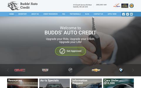 Screenshot of Home Page buddsautocredit.com - Oakville Auto Loans Expert Dealership   Budds' Auto Credit Auto Loans Expert Dealer Ontario - captured March 28, 2016