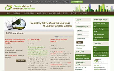 Screenshot of Home Page cmia.net - CMIA | Climate Markets & Investment Association - captured June 21, 2015