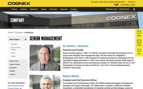 Screenshot of Team Page aqsense.com - Senior Management   Cognex - captured Nov. 12, 2018