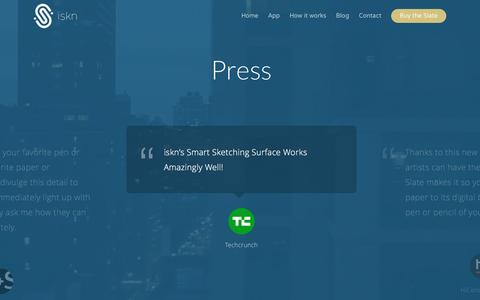 Screenshot of Press Page iskn.co - Press - iskn - captured Nov. 26, 2016