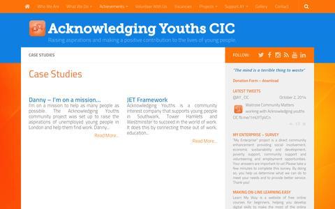 Screenshot of Case Studies Page acknowledgingyouths.org - Case Studies - Acknowledging Youths CIC - captured Oct. 4, 2014