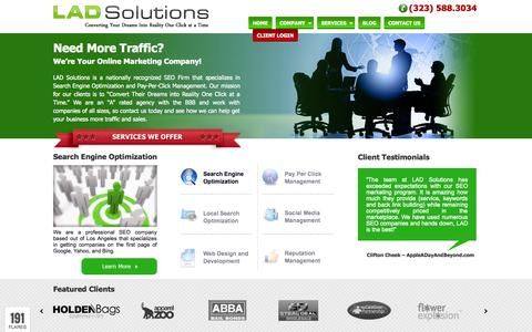 Screenshot of Home Page ladsolutions.com - Los Angeles SEO Company | Web Design Services | PPC Management - captured Sept. 19, 2014