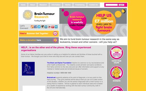 Screenshot of Support Page braintumourresearch.org - Helplines   Brain Tumour Research   Brain Tumour Helplines   Brain Tumour Treatments   Brain Cancer Helplines   Brain Cancer Fundraising   Brain Tumour Charity   Benign Brain Tumours - captured July 30, 2016