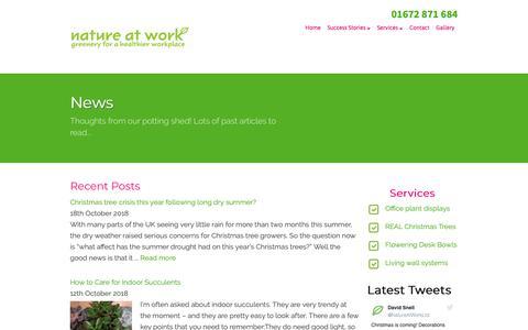 Screenshot of Press Page nature-at-work.co.uk - News - Nature at Work - captured Oct. 18, 2018
