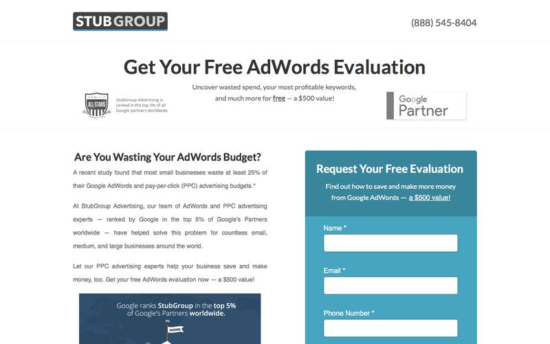 Free AdWords Evaluation — StubGroup | A premier pay-per-click advertising agency
