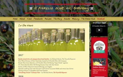 Screenshot of Press Page ilfiorello.com - In the News | Il Fiorello Olive Oil Company - captured Oct. 11, 2018