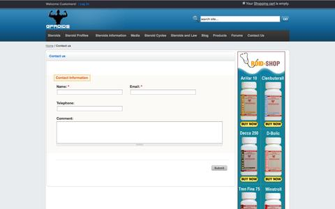 Screenshot of Contact Page gproids.com - Steroids e-Commerce - captured Sept. 30, 2014