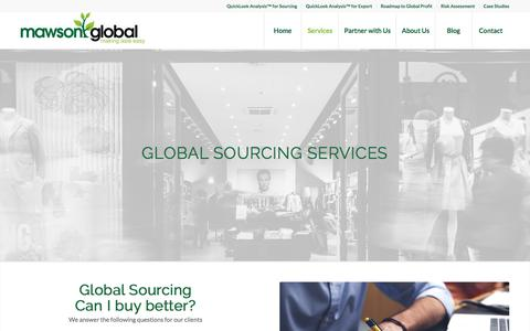 Screenshot of Services Page mawsonglobal.com - Global Services | Mawson Global - captured Sept. 20, 2018