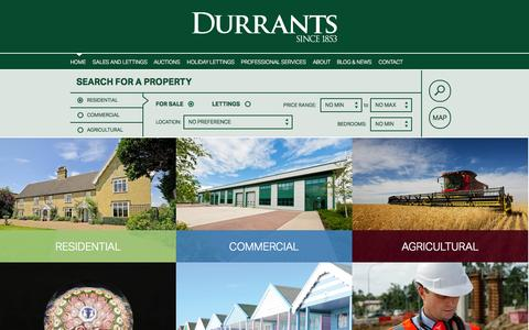 Screenshot of Home Page durrants.com - Estate Agents, Chartered Surveyors, Auctioneers, Auction Rooms & Property Management - Durrants - captured Jan. 23, 2015