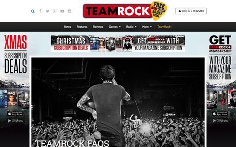 Screenshot of FAQ Page teamrock.com - TeamRock - captured Dec. 5, 2015