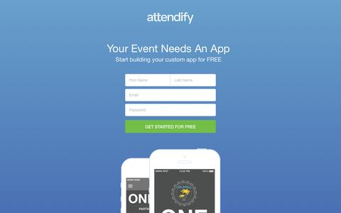 Screenshot of Landing Page attendify.com - Build a mobile app for your next event. Attendify - captured Feb. 23, 2016