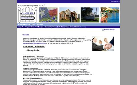 Screenshot of Jobs Page chaparralmanagement.com - Chaparral Management Company - Homeowners Associations Management - captured Oct. 2, 2014