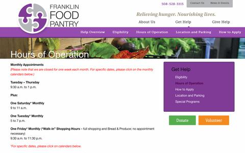 Screenshot of Hours Page franklinfoodpantry.org - Hours of Operation – Franklin Food Pantry - captured June 6, 2017