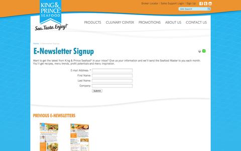 Screenshot of Signup Page kpseafood.com - E-Newsletter Signup | King & Prince Seafood - captured Oct. 10, 2014
