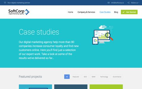 Screenshot of Case Studies Page softcorp.ca - Section: Case Studies | SoftCorp - captured Oct. 6, 2014