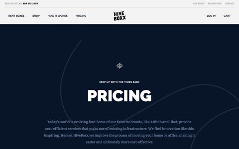 Screenshot of Pricing Page hiveboxx.com - Pricing | HiveBoxx | Moving boxes, serving sunny Seattle. - captured May 20, 2017