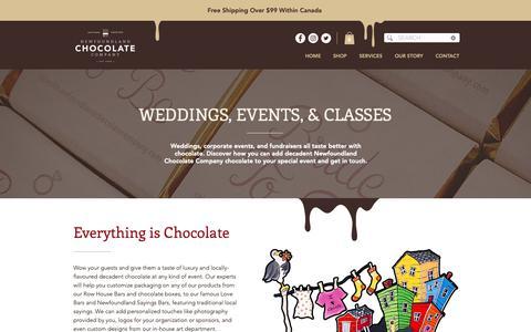 Screenshot of Services Page newfoundlandchocolatecompany.com - Services | Newfoundland Chocolate Company - captured Dec. 10, 2018