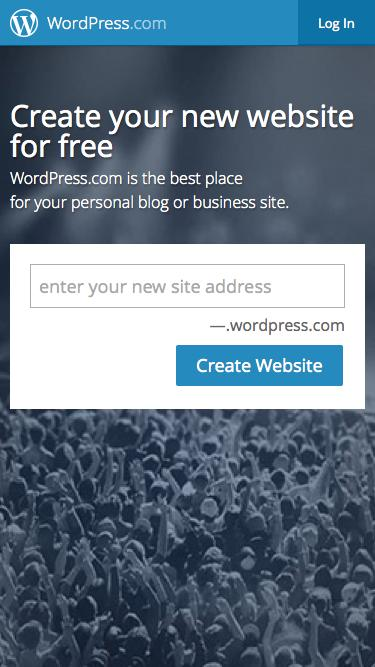 Screenshot of Home Page  wordpress.com - WordPress.com: Create a free website or blog