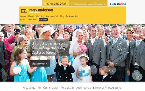 Screenshot of Home Page markandersonphotography.co.uk - Glasgow Wedding Photographer - Business Photographer Glasgow - captured Sept. 20, 2018