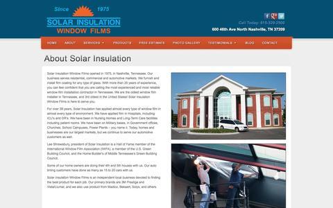 Screenshot of About Page solarinsulation.com - About Solar Insulation   Solar Insulation Window Films - captured Dec. 18, 2016