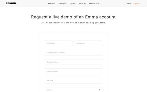 Screenshot of Signup Page myemma.com - Get Started - Email Marketing Contact Form   Emma Email Marketing - captured Oct. 17, 2018