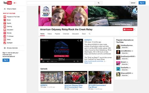 Screenshot of YouTube Page youtube.com - American Odyssey Relay/Rock the Creek Relay  - YouTube - captured Oct. 22, 2014