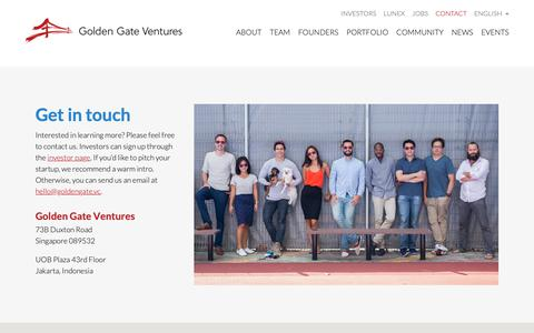 Screenshot of Contact Page goldengate.vc - Contact | Golden Gate Ventures | Venture Capital for Southeast AsiaGolden Gate Ventures | Venture Capital for Southeast Asia - captured May 24, 2019