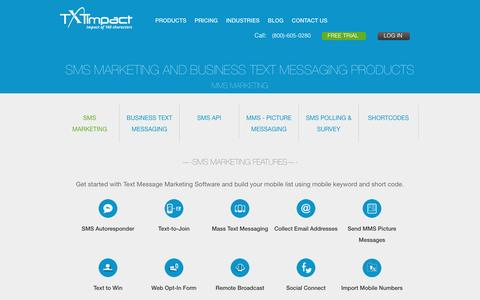 Screenshot of Products Page txtimpact.com - SMS Marketing and Business Text Messaging - captured Sept. 7, 2016