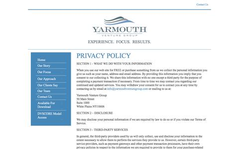 Screenshot of Privacy Page yarmouthventuregroup.com - Yarmouth Venture Group - Privacy Policy - captured May 26, 2017