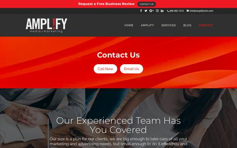 Screenshot of Contact Page amplifymm.com - Contact Information | Amplify media + marketing - captured Oct. 3, 2018