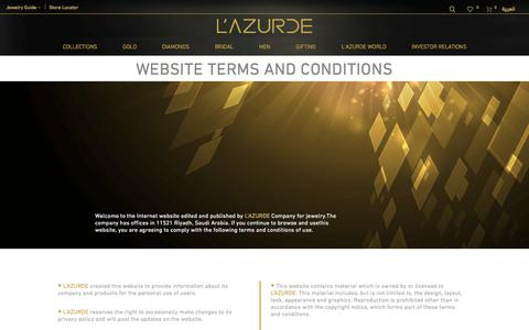 Screenshot of Terms Page lazurde.com - Website Terms and Conditions – L'azurde - captured July 14, 2018