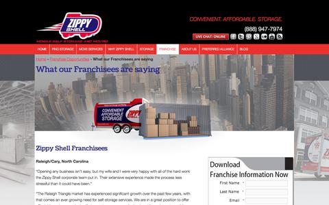 Screenshot of Testimonials Page zippyshell.com - What our Franchisees are saying | Zippy Shell - captured Oct. 26, 2014