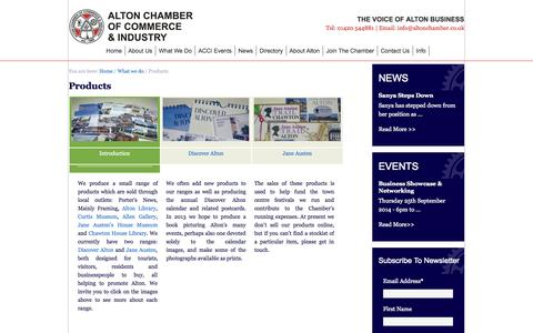 Screenshot of Products Page altonchamber.co.uk - Products |Alton Chamber of Commerce & Industry: - captured Oct. 4, 2014