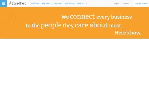Screenshot of Home Page spredfast.com - Social Media Experience Management Software Platform   Spredfast - captured Nov. 19, 2016