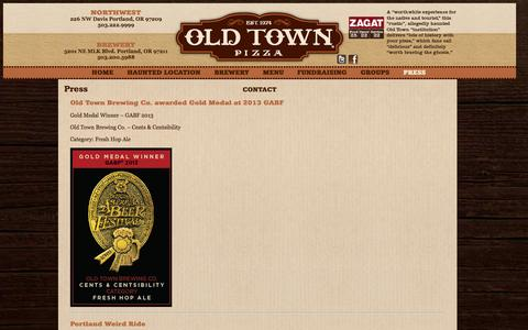 Screenshot of Press Page oldtownpizza.com - Press | Old Town Pizza - captured Oct. 26, 2014