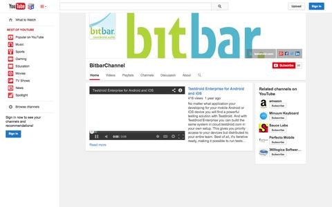 Screenshot of YouTube Page youtube.com - BitbarChannel  - YouTube - captured Nov. 5, 2014