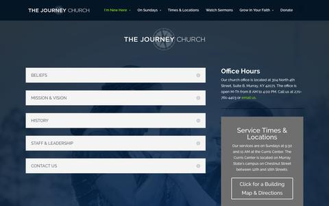 Screenshot of About Page journeycalloway.com - About | The Journey Church - captured Oct. 6, 2014