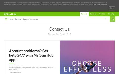 Screenshot of Contact Page starhub.com - Contact Us | StarHub Support - captured May 18, 2019